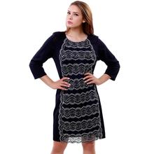 BFDADI Новые женские летние платья 2016 кружева шить шею свободного покроя платье тонкой пригонки Большой размер 5xl бесплатная доставка 7-2226(China (Mainland))