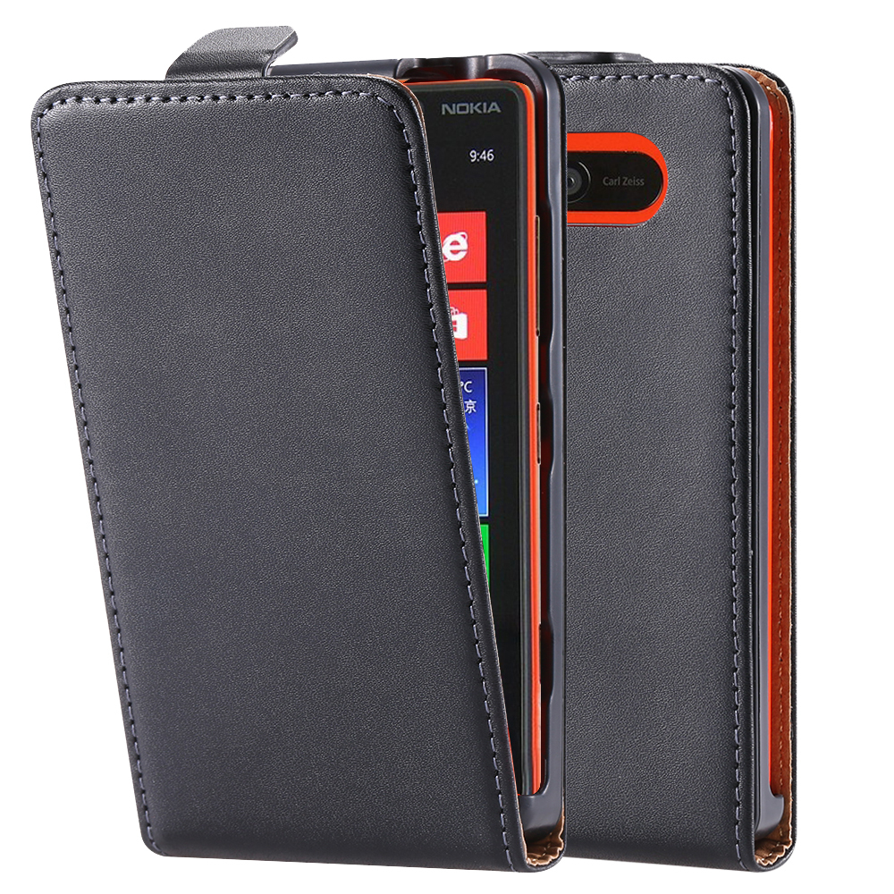 Business Style Luxury Classic Genuine Leather Mobile Phone Case For Nokia Lumia 820 N820 Up And Down Open Style Back Cover Black(China (Mainland))