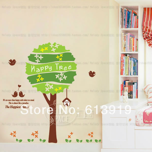 Free Express Shipping Removable Cartoon Happy Tree Wall Stickers Kids Room Decoration Home Decals - DIY Sky store