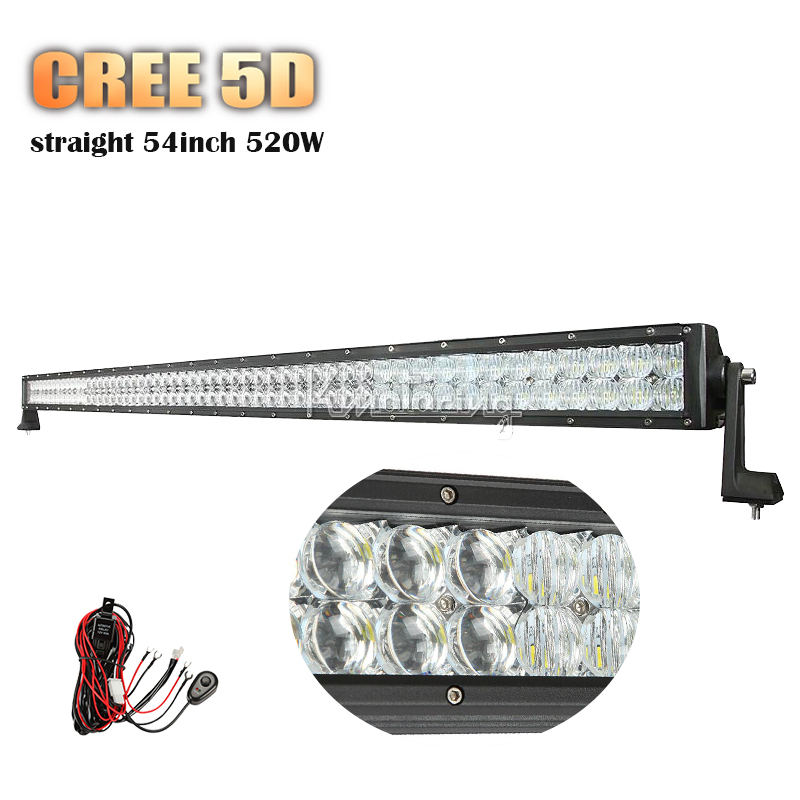 Cree 5D LED Light Bar 54inch 520W Straight Combo Beam Bar Light For Offroad 4x4 4WD SUV ATV 12v 24v Pickup Trailer Driving Light(China (Mainland))