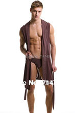 Mens Relaxed Ultra Soft Dream Robe Sleepwear Polyester Hooded sleeveless smooth leisure Bathrobes nightgown clothes clothing(China (Mainland))