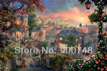Thomas Kinkade Anime Oil Painting Art Print On Canvas Lady and the Tramp Home Decoration Wall Art TK0343 Free Shipping(China (Mainland))