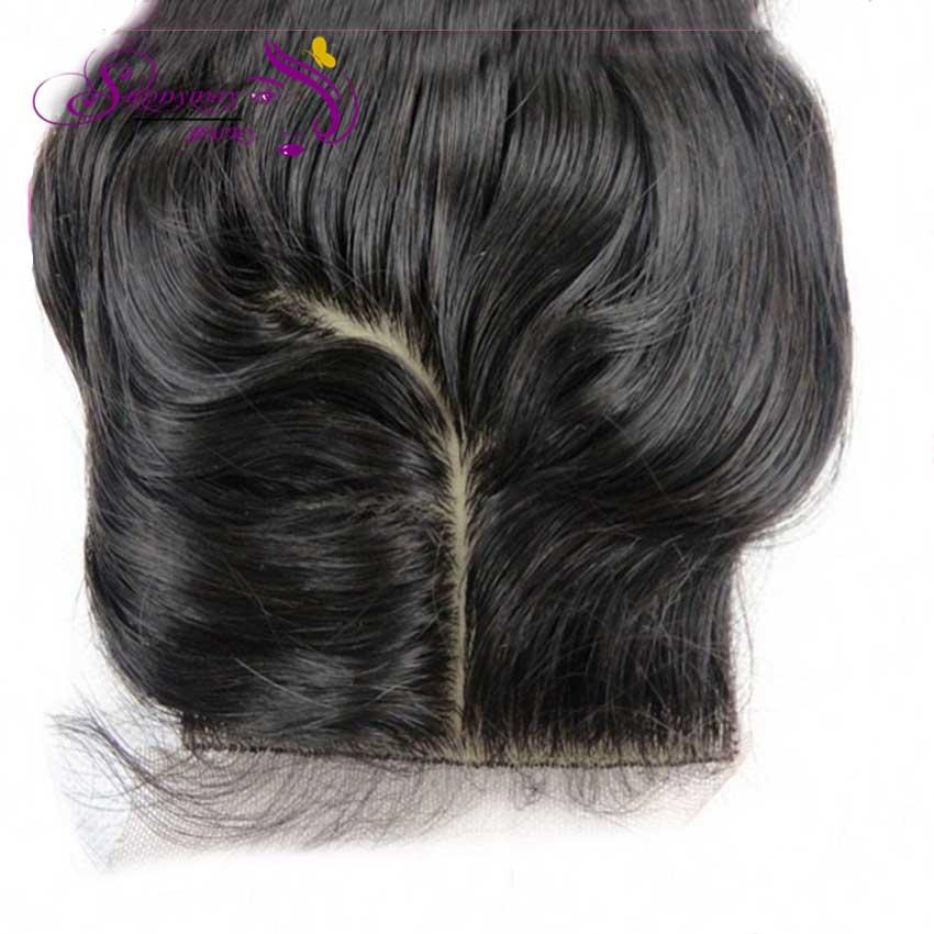 Фотография New arrival natural looking Body wave Brazilian virgin hair silk base lace closure J part