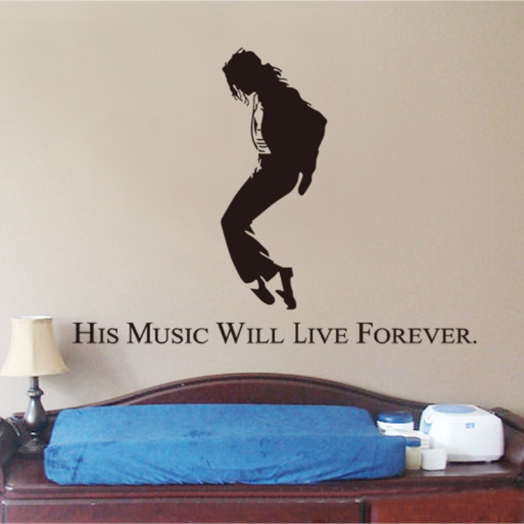 Hot Fashion Michael Jackson Collection Living Room Bedroom Decor Removable Wall Stickers Gift Drop Shipping HG-WS-1810(China (Mainland))