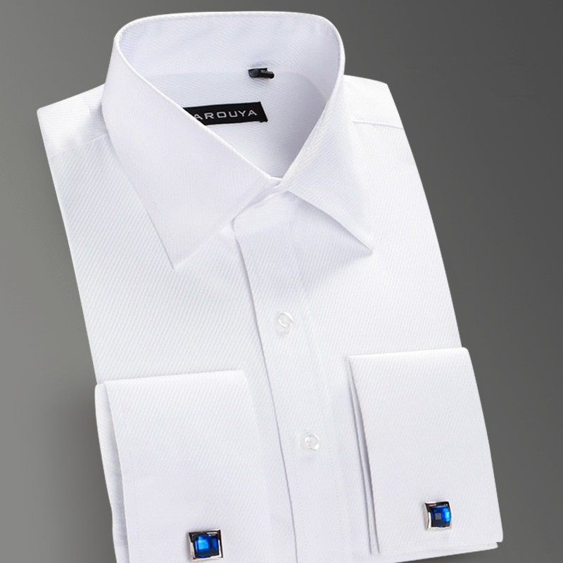 High Quality Mens Luxury French Cuff Button Dress Shirts 2015 New Arrival Peaked Collar Long Sleeve