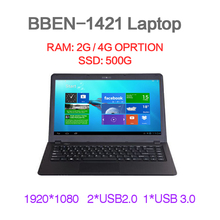 14.1inch laptop ultrabook notebook computer 2GB DDR3 500G HHD  USB 3.0 Quad core WIFI HDMI webcam(China (Mainland))
