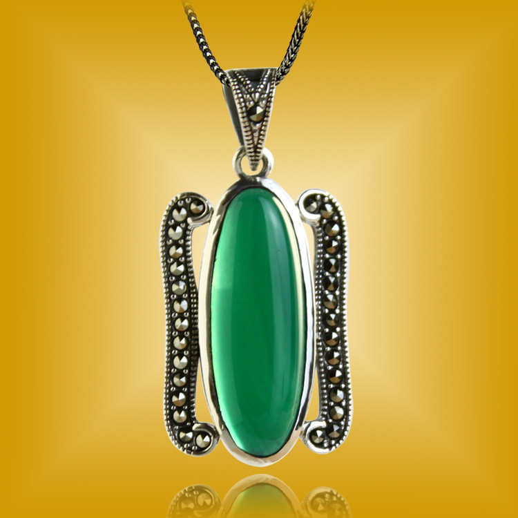 925 pure silver pendants female natural green agate marcasite noble gift<br><br>Aliexpress