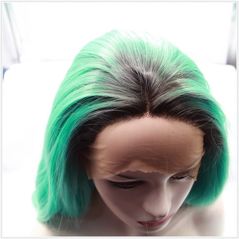 Free shipping ombre brazilian hair green loose wave hair dark root Synthetic Lace Front Wig heat resistant green hair weave