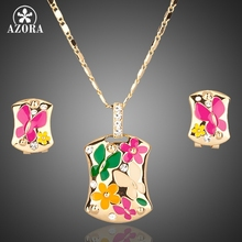AZORA Gold Plated Multicolour Flower Clip Earrings and Pendant Necklace Jewelry Sets TG0002(China (Mainland))