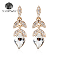 2016 Teardrop Crystal Bridal Gold Long Earrings for Women Water Drop Fine Jewelry Wedding Jewelry pendientes