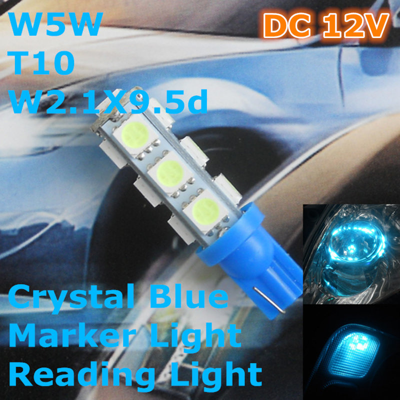 Stock Shipping New 12V CE Crystal Blue Color LED Car Spare Lamp T10(13*5050 SMD)W5W W2.1X9.5d Signal Top Reading Width Light - Arthur Lighting Refit Store store