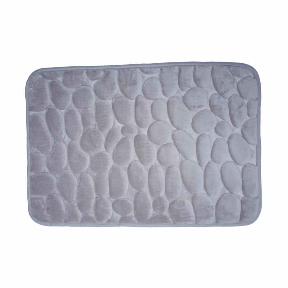 "Gray 3D stone memory foam bath mat anti slip SBR bottom 40x60cm/15.7""Wx23.6""L Free Shipping(China (Mainland))"