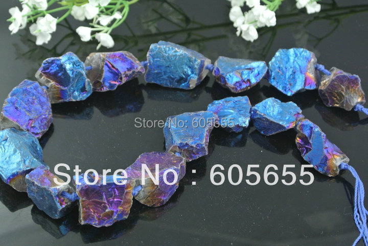 Blue Plated Natural Rock Crystal Quartz Rough Stone Electroplate Graduated Beads Jewelry 5 strands /lot Free ship(China (Mainland))