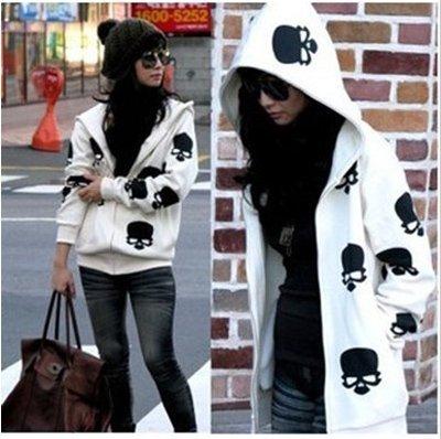 New Arrival Spring/Autumn Hoodies Skeleton Design Printing Leisure Zipper Black/White Fleece K12022304