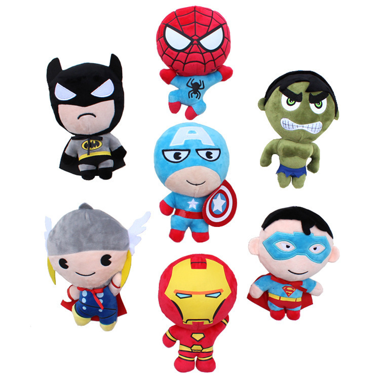2015 New Comis 20cm Super Heros Captain America Iron Man Batman Spiderman Thro Batman Superman Boneca Plush Doll Stuffed Toys(China (Mainland))