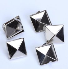100pcs 12mm Silver Pyramid Studs Rivet Spike Nickel Punk Bag Belt Leathercraft Bracelets Clothes 4Q121(China (Mainland))
