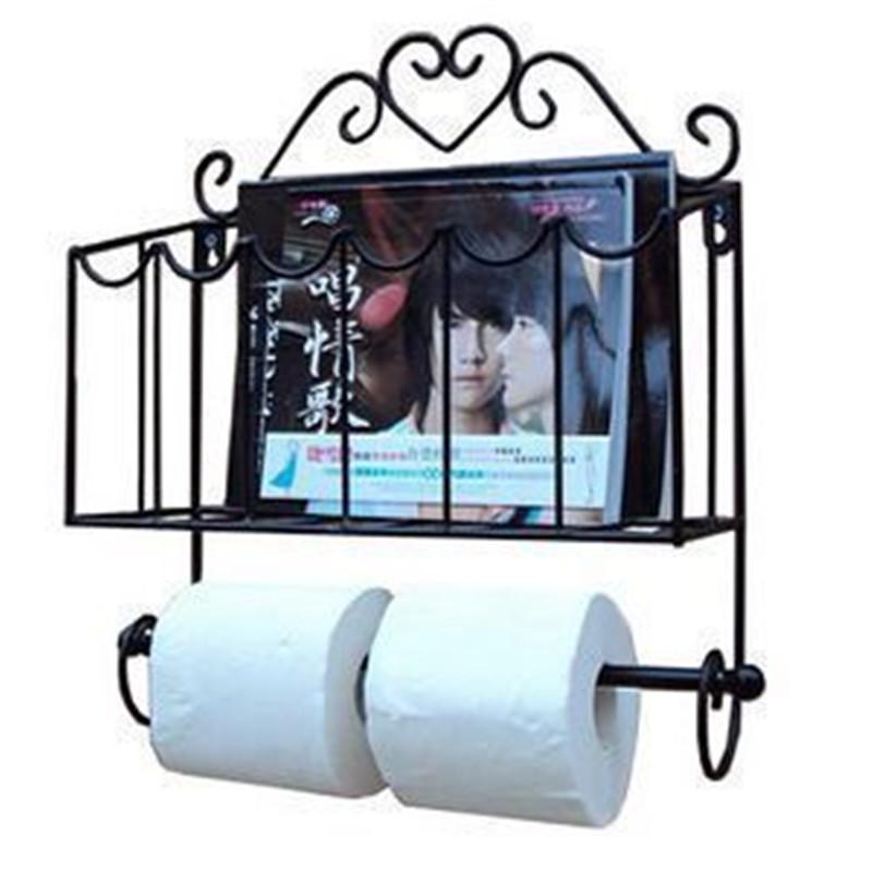 Fashion wrought iron furniture paper towel holder magazine rack wall bathroom shelf(China (Mainland))