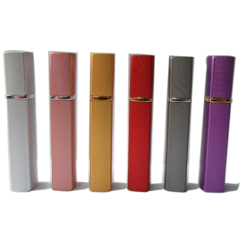 Fashion Mini Metal Box Glass Tank 12ml Perfume Bottle Aluminum Nozzle Refillable Bottle