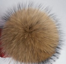 Free Shipping 10 cm 2pcs real raccoon fur pom poms ball key chain fur hat winter hats for shoes fur cap accessories(China (Mainland))