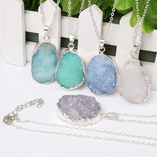 2015 New Amethyst Geode Big For Irregular Round Pendant Necklace Crystal Natural Stone Ruby Necklace Quartz Gem Jewelry(China (Mainland))