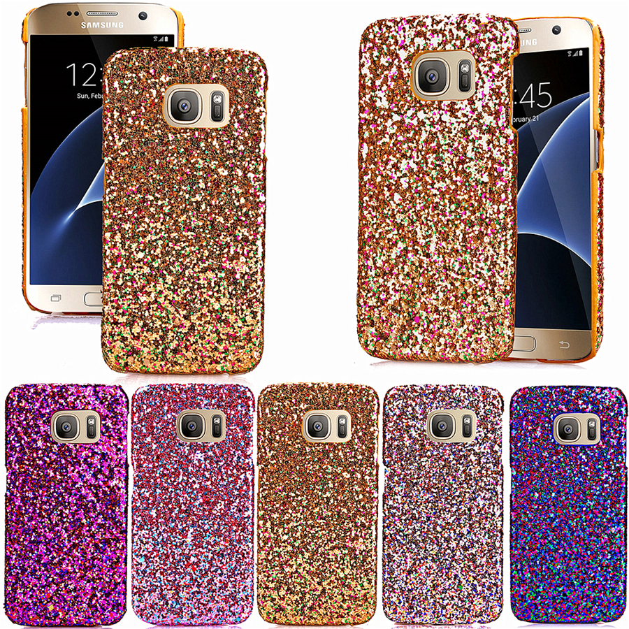 Case For Samsung Galaxy S7 Skinning Leather And PC Luxury Glitter Skinning Oil Side Pink Gold Fashion Color Cell Phone Housing(China (Mainland))