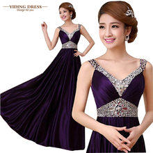 2016 Double-Shoulder V-Neck Silk Beading Purple Longo Evening Dresses Slim Robe De Soiree Formal Vestidos De Fiesta(China (Mainland))