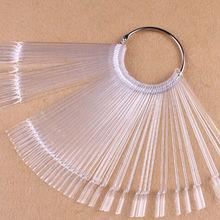 Free shipping 50pcs False Display Nail Art Clear Fan Wheel Polish Practice Tip Sticks Nail Art Swatches(China (Mainland))