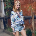 FROMMAZZ 2016 Summer New Women Lady Fashion Causal V Neck Print Floral Ethnic Loose Chiffon Pullover