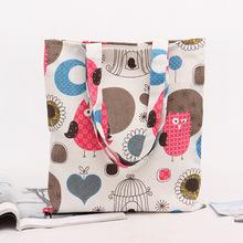Tela di cotone shopping tote shoulder borsa per il trasporto eco riutilizzabile bag  Stampa gufi e luna amore bird heart cage senza rivestimento  Nuovo(China (Mainland))