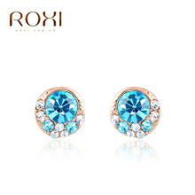 ROXI fashion girls Blue Crystal earrings ,earrings for elegant women party,Nickeless,wholesale,Christmas/birthday gifts,(China (Mainland))