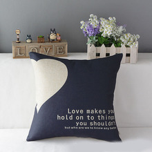 Heart Letter Cotton Linen Pillow Case Print Cushion Cover