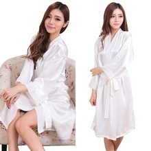 RB089 Nightwear Women Luxury Faux Silk Satin Sleepwear Robes Pajamas Nightgowns Bridemaids Party Robes Hen Party Bath Robes(China (Mainland))