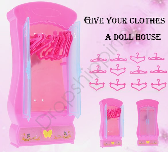 Wholesale Children Kids Girl's Cute Lovely Mini Toy Wardrobe Furniture Closet for Barbie Dolls With 12pcs Clothes Hangers 36(China (Mainland))