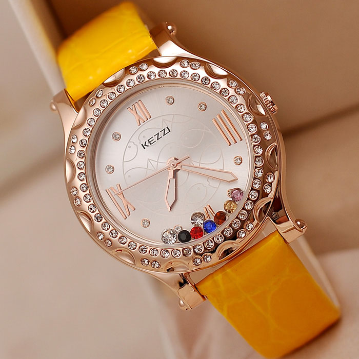 New KEZZI Leather Strap Womens Watches Fashion Roman Scale Inlay Rhinestone Crystal Dial Quartz Movement Waterproof Ladies Watch<br><br>Aliexpress