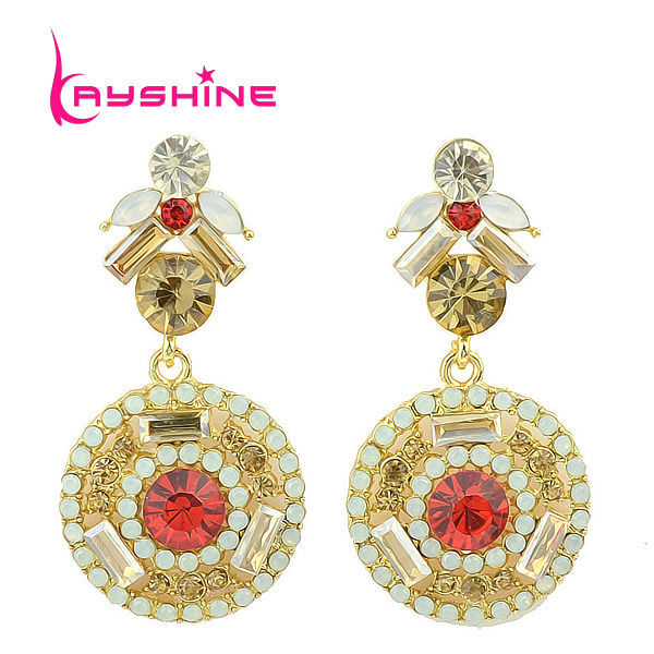 Long Gold Color Earrings Red Simulated Gemstone Decoration Boucle D'oreille Imitation Ouro Brincos for Women New Year's Gift(China (Mainland))