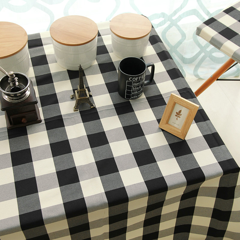home black and white yarn dyed plaid dining table cloth plaid table cloth decoration(China (Mainland))