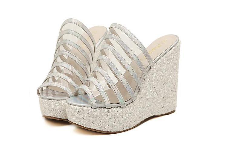 Glitter Wedge Sandal Glitter Jelly Sandals Rainbow