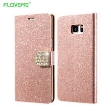 Buy Luxury Samsung Galaxy S6 edge Case Leather Wallet Glitter Diamond Bling Rhinestone Cover Samsung S6 Case Phone Bags for $2.99 in AliExpress store