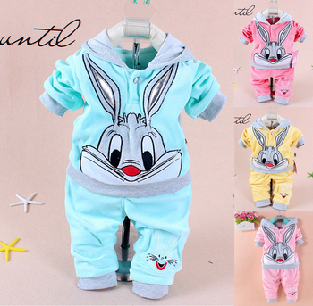 manufacturer 1 Sets retail. 2015 Spring/Autumn baby set cartoon rabbit velvet set twinset long sleeve set hoodie and pant childr