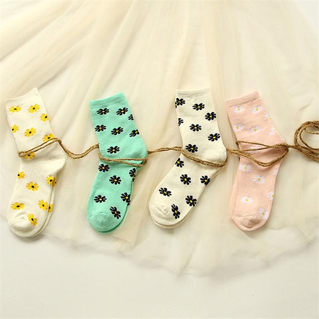 2015 новинка японские женщины махровые носки каваи ромашка тепловой долго носок смазливая зимние женские толстые теплые носки