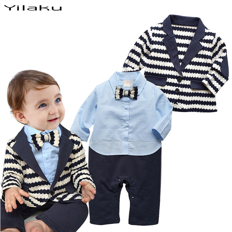 Elegant Baby Boy Celebrate Clothing Bowknot Jumpsuit + Stripe Coat Overalls For Newborn Babies Clothes Splice Boys Outfits CF367(China (Mainland))