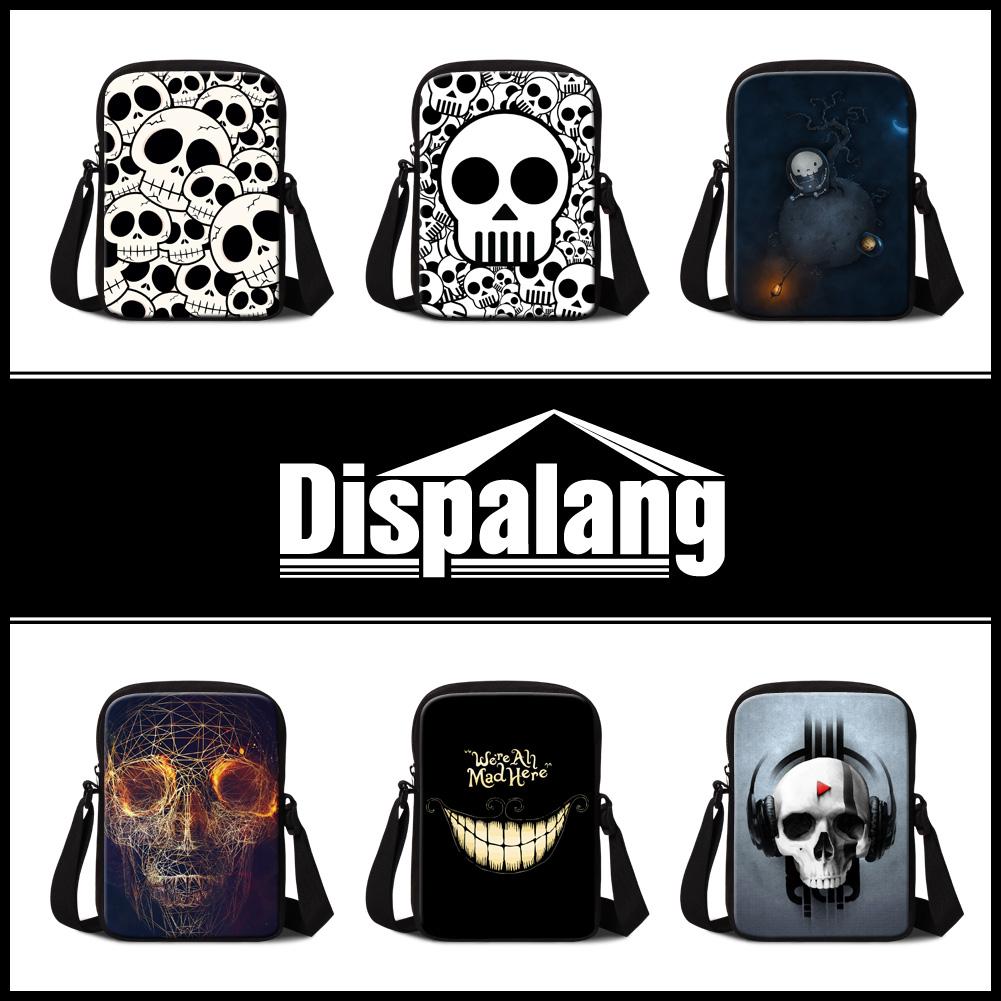 2016 custom design mini messenger bag for men cool skull print small crossbody bags personalized ghost shoulder bags casual bag(China (Mainland))