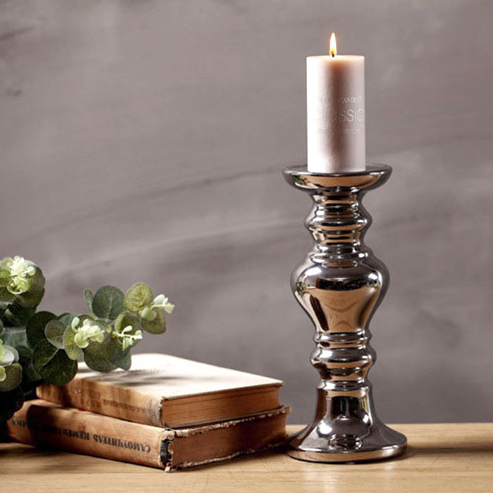 European style classical creative silver ceramic candlestick wedding home decor porcelain candle holders romantic light dinner(China (Mainland))