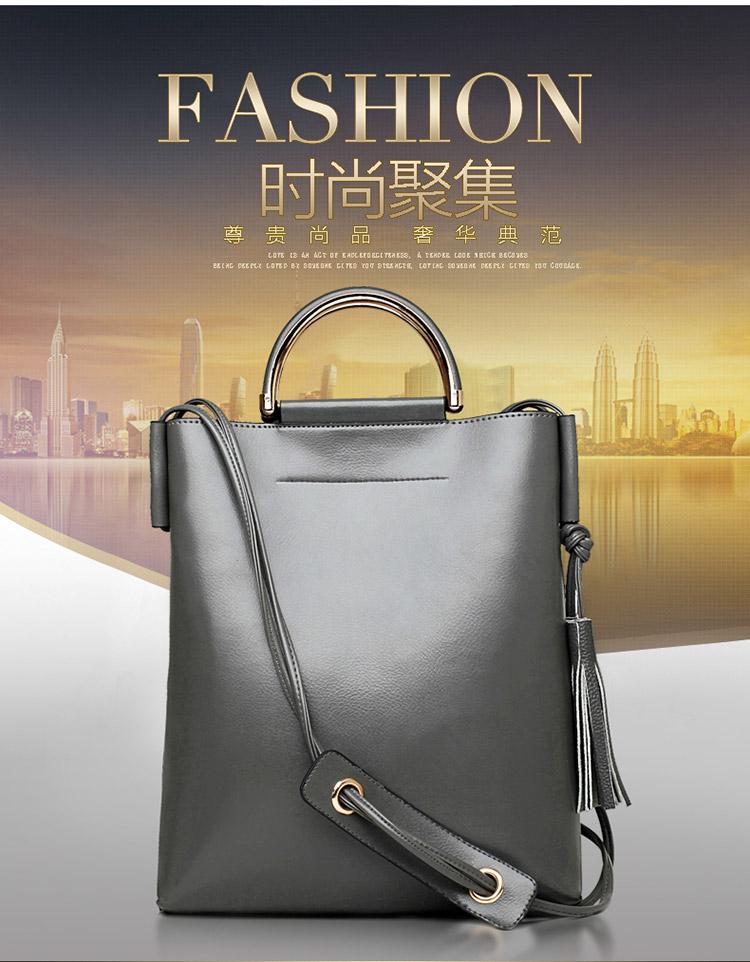 New 2015 OL Ladies Korean Rivet Handbag Large Capacity Pu Leather Totes Shoulder Bags Woman Messenger Bags