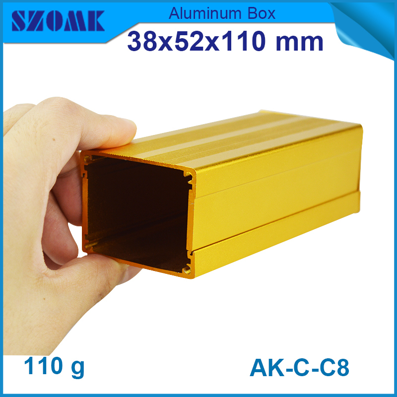 Golden color aluminum power distribution box 38(H)x52(W)x110(L)mm in powder coating and anodizing with panles and screws(China (Mainland))
