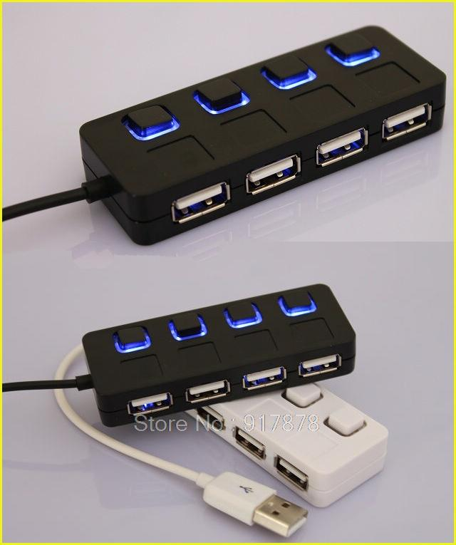 2015 New High Speed LED Slim USB 2.0 4 Ports Hub Usb with ON/OFF Switch For Desktop Laptop Free Shipping(China (Mainland))
