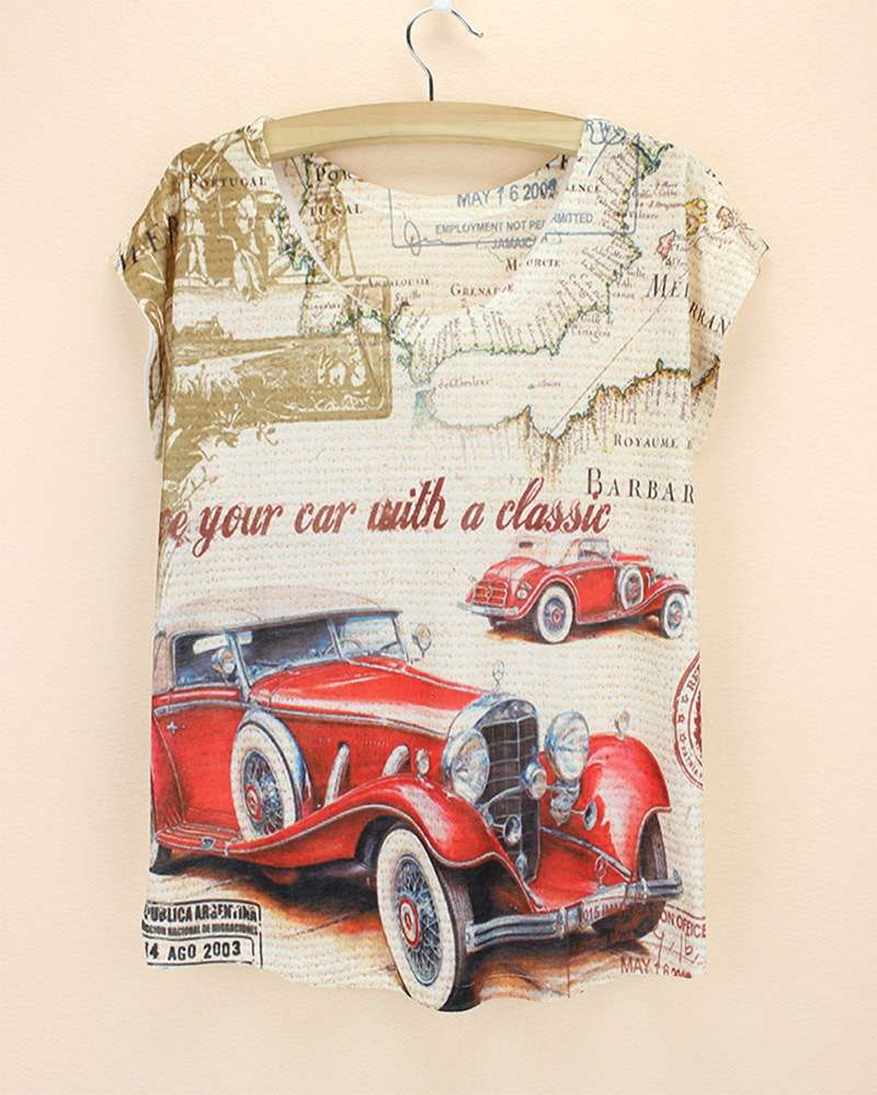 Hot sale 2015 summer style fashion graphics printed Red vintage car Ladies' T shirt TOPs LOWEST PRICE(China (Mainland))
