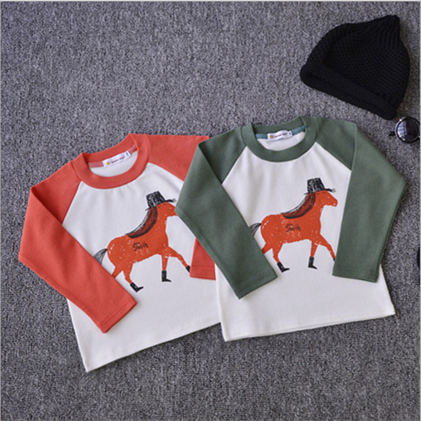 Bobo Choses Baby T Shirt 18m-8y Girls Boys Horse Printed Cotton Kids Shirts Children's Clothing Tees 2015 Autumn Wear YA166(China (Mainland))