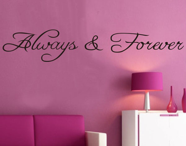 Free shipping: Alway Forever Wall Stickers Living Bedroom Decor Decals Mural Vinyl Removable House Decoration(China (Mainland))