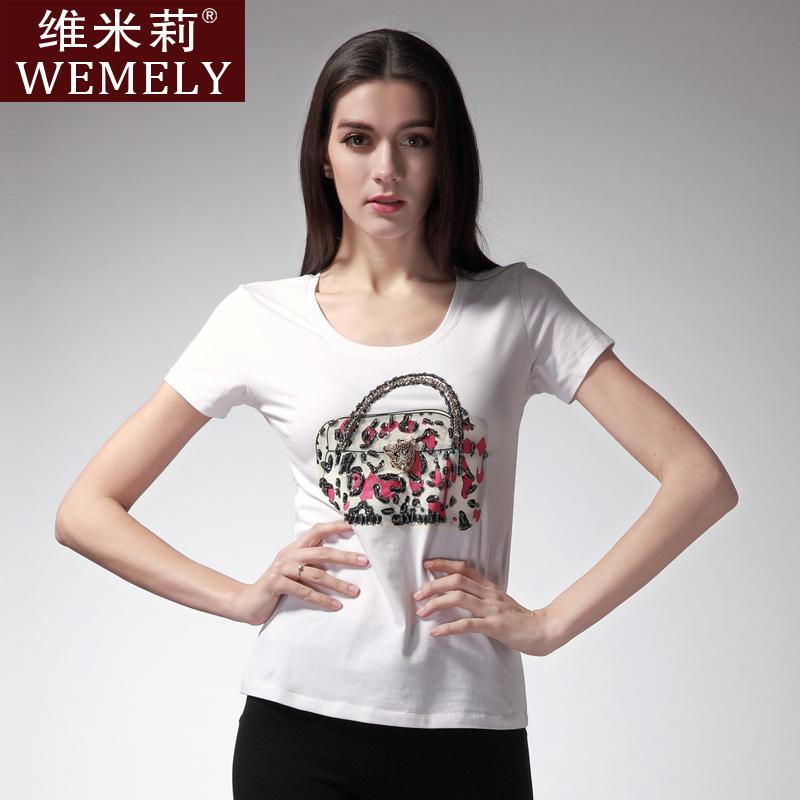Wemely 2013 summer fashion diamond small bag short-sleeve t-shirt female w3036b - Online Store 343828 store